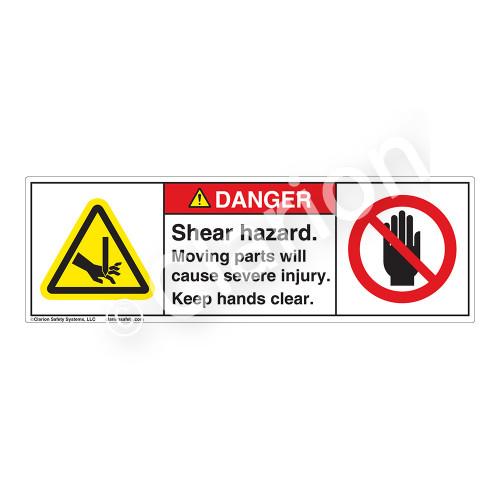 Danger/Shear Hazard Label (H1001/6008-8HDH)
