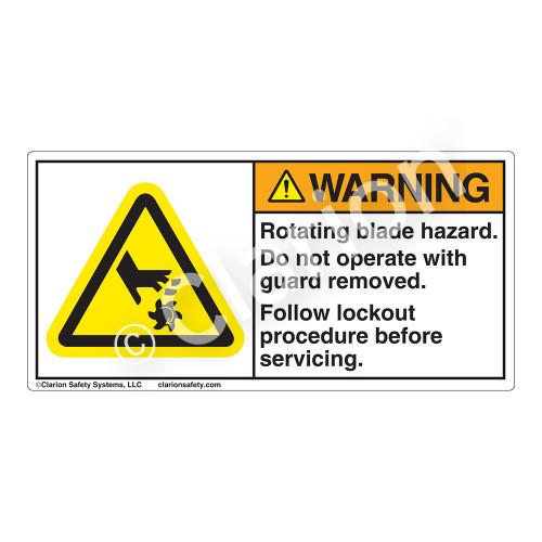 Warning/Rotating Blade Label (H1007-85WH)