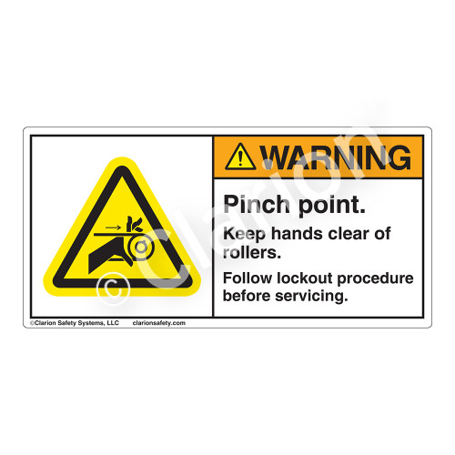 Warning/Pinch Point Label (H1009-82WH)