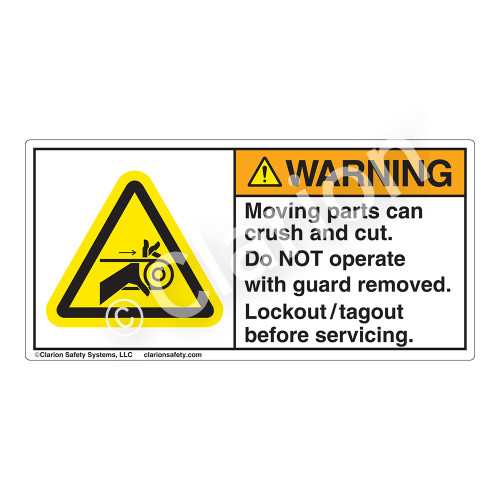 Warning/Moving Parts Can Crush Label (H1009-M4WH)