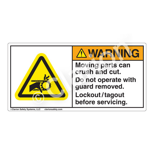 Warning/Moving Parts Label (H1012-M4WH)