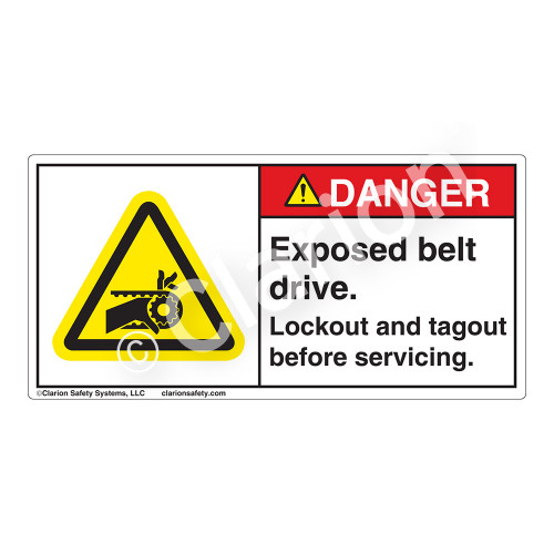 Danger/Exposed Belt Drive Label (H1013-PDDH)