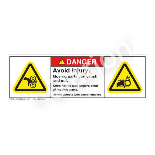 Danger/Avoid Injury Label (H1018/1012-M61DH)