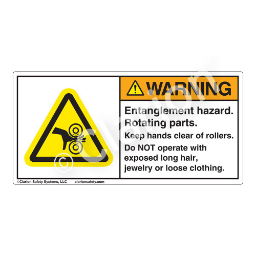 Warning/Entanglement Hazard Label (H1018-715WH)