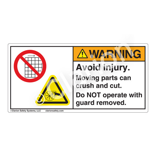 Warning/Avoid Injury Label (H1027/6060-SYWH)