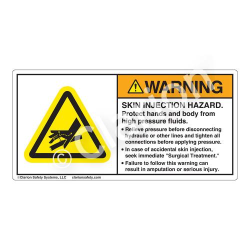 Warning/Skin Injection Hazard Label (H1040-FZWH)