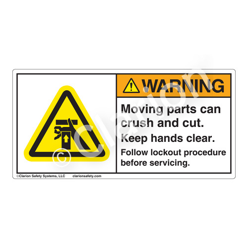 Warning/Moving Parts Label (H1054-388WH)