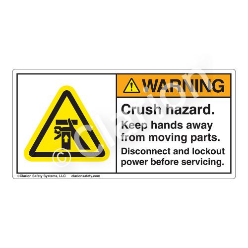 Warning/Crush Hazard Label (H1054-BJWH)