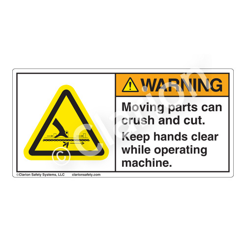 Warning/Moving Parts Can Crush Label (H1057-FTWH)