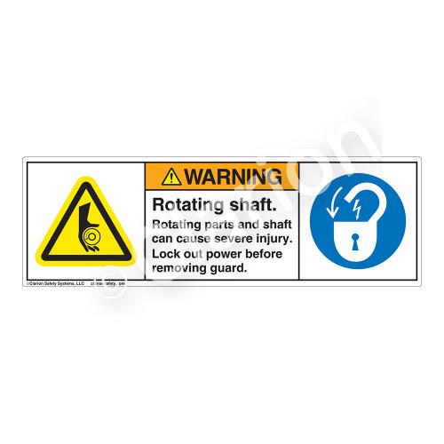 Warning/Rotating Shaft Label (H1080/6011-3HWH)