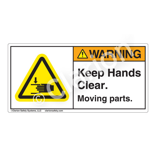 Warning/Keep Hands Clear Label (H1105-PRWH)