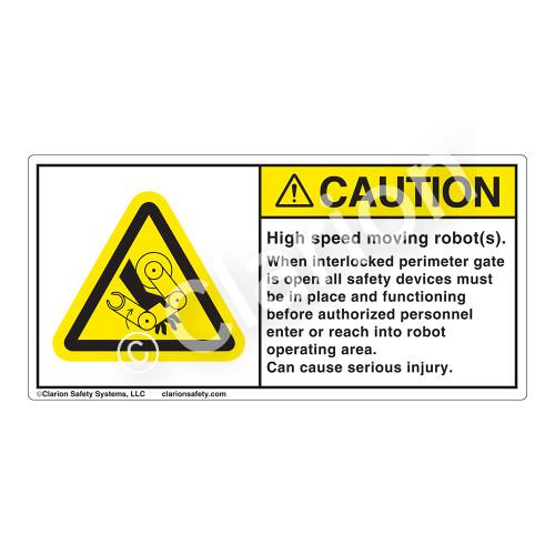 Caution/High Speed Robots Label (H1117-3GCH)