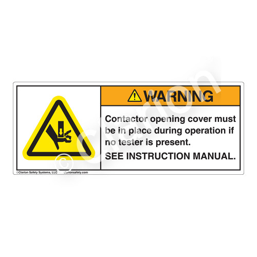 Warning/Contactor Opening Label (H1143-150WH)