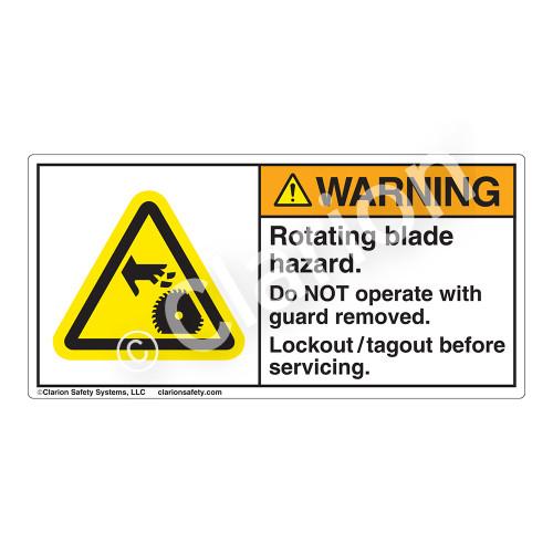 Warning/Rotating Blade Hazard Label (H1150-Y0WH)