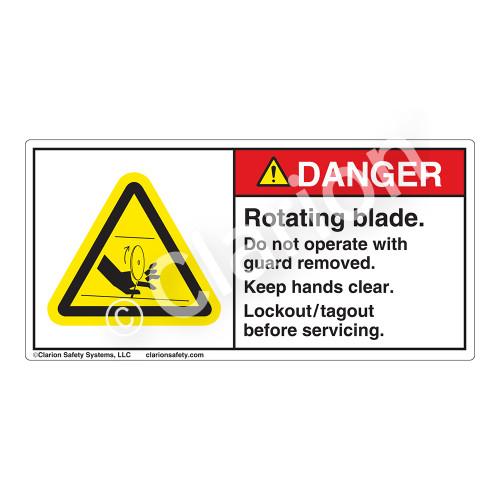 Danger/Rotating Blade Label (H1173-T1DH)