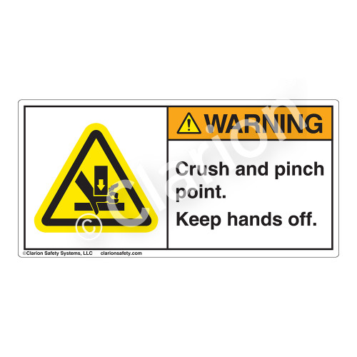Warning/Crush and Pinch Point Label (H1191-T01WH)