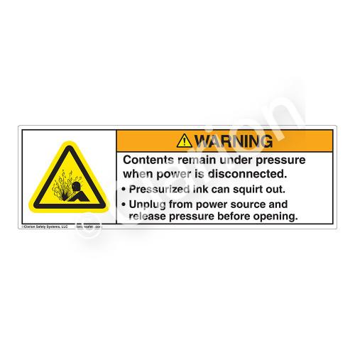 Warning/Pressurized Ink Label (H4005-207WH)