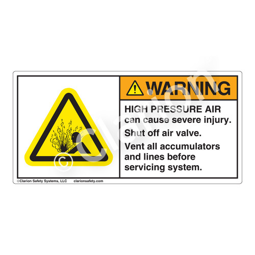 Warning/High Pressure Air Label (H4005-337WH)