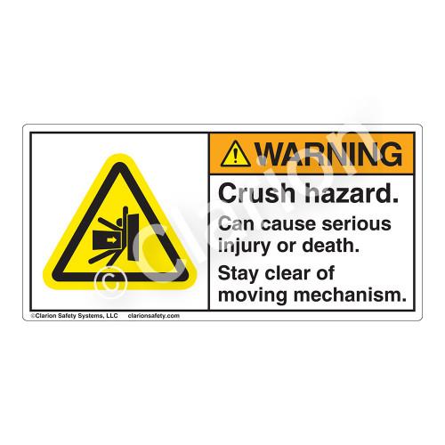 Warning/Crush Hazard Label (H5013-UFWH)
