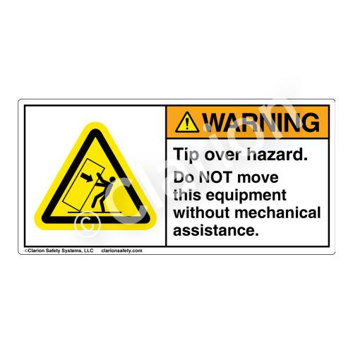 Warning/Tip Over Hazard Label (H5157-VTWH)