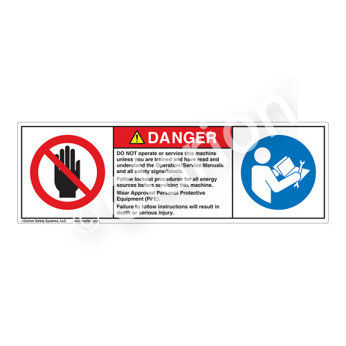 Danger/Do Not Operate Label (H6008/6127-P34DH)
