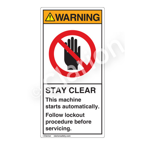 Warning/Stay Clear Label (H6008-44WV)