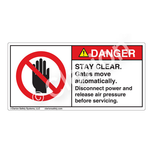 Danger/Stay Clear Label (H6008-J34DH)