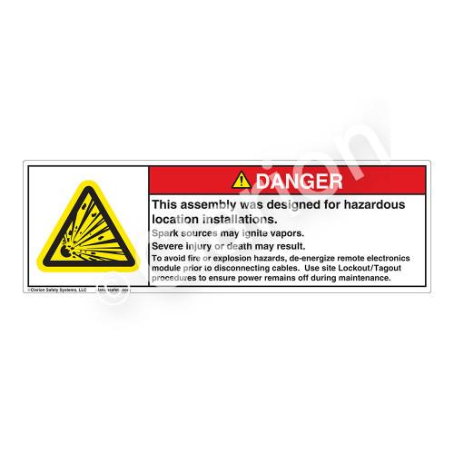 Danger/Designed For Hazard Loc Label (H6009-K49DH)