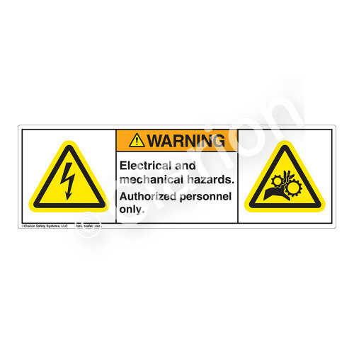 Warning/Electric and Mechanical Hazard Label (H6010/1014-5FWH)