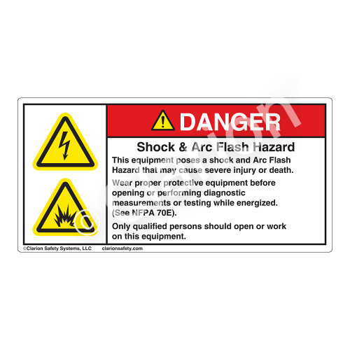 Danger/Shock And Arc Flash Label (H6010/6006-1PDH)