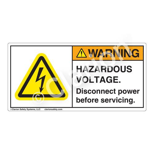Warning/Hazardous Voltage Label (H6010-18WH)