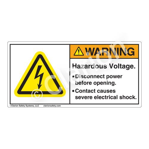 Warning/Hazardous Voltage Label (H6010-208WH)