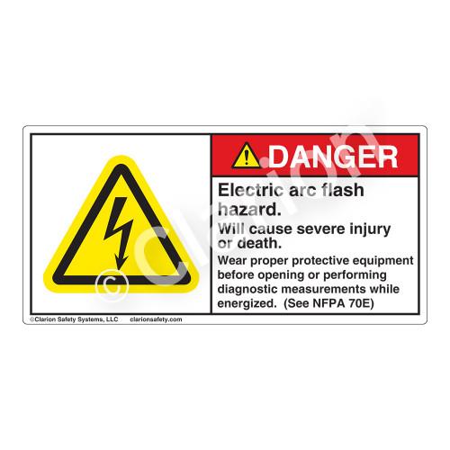 Danger/Electric Arc Flash Label (H6010-260DH)