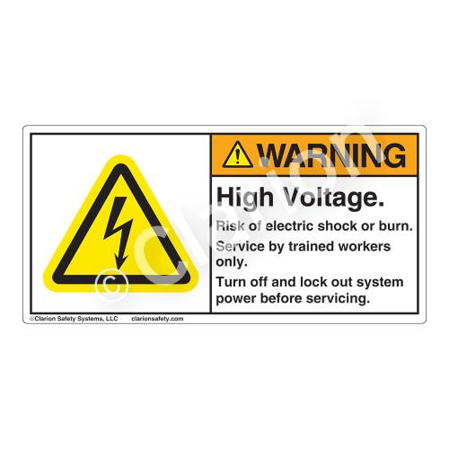 Warning/High Voltage Label (H6010-266WH)