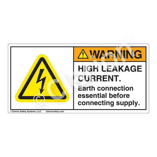 Warning/High Leakage Current Label (H6010-2BWH)