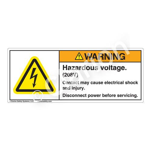 Warning/Hazardous Voltage Label (H6010-2LWH)