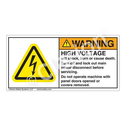 Warning/High Voltage Label (H6010-355WH)