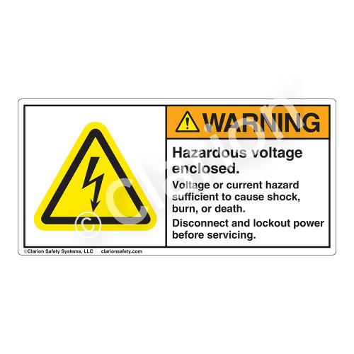 Warning/Hazardous Voltage Enclosed Label (H6010-429WH)