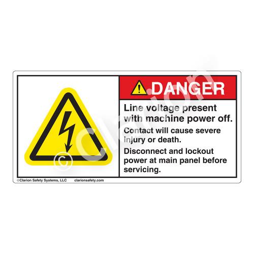 Danger/Line Voltage Present Label (H6010-434DH)
