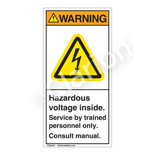 Warning/Hazardous Voltage Inside Label (H6010-479WV)