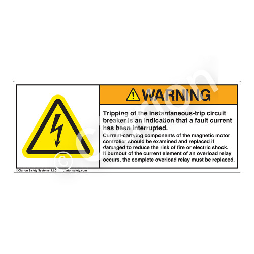 Warning/Tripping of Instantaneous-Trip Label (H6010-522WH)