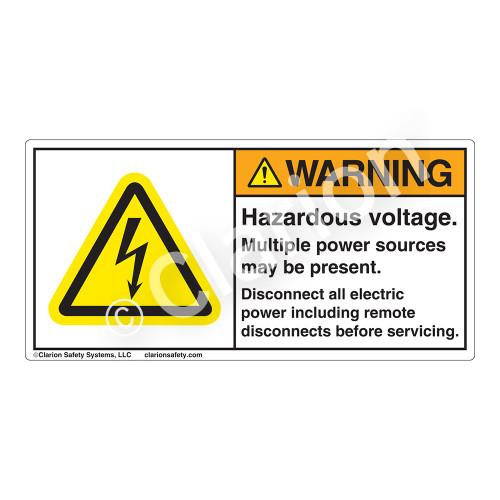 Warning/Hazardous Voltage Label (H6010-61WH)
