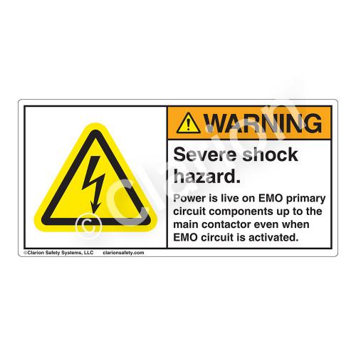 Warning/Severe Shock Hazard Label (H6010-7BWH)