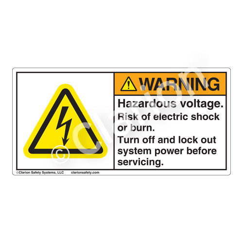 Warning/Hazardous Voltage Label (H6010-97WH)
