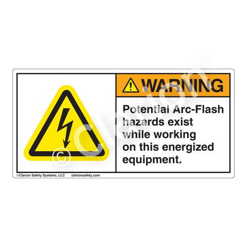 Warning/Potential Arc-Flash Label (H6010-9VWH)
