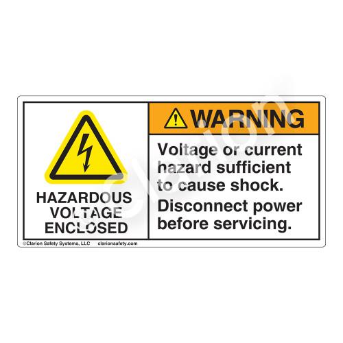 Warning/Hazardous Voltage Label (H6010-AXWH)