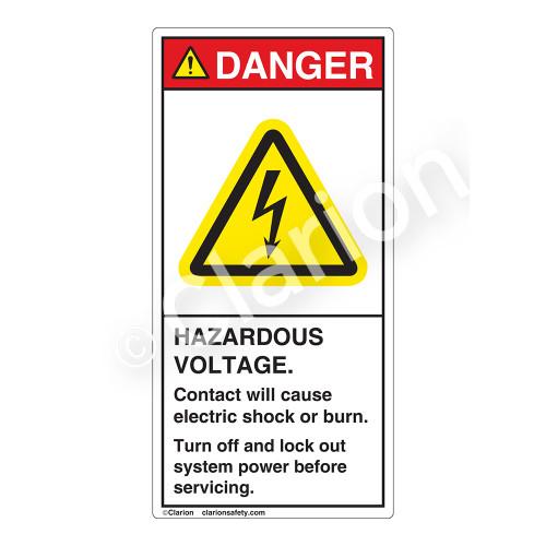Danger/Hazardous Voltage Label (H6010-B1DV)