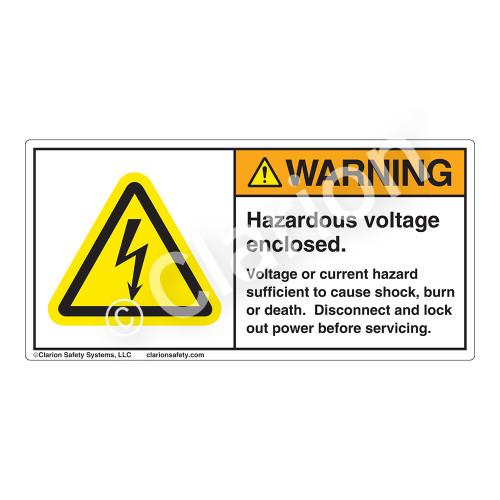 Warning/Hazardous Voltage Label (H6010-BGWH)