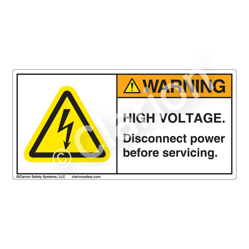 Warning/High Voltage Label (H6010-BUWH)