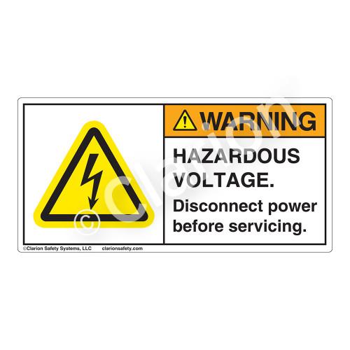 Warning/Hazardous Voltage Label (H6010-BWWH)